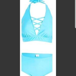 Nwt Nicole Miller Studio Turquoise 2PC Bikini Swim